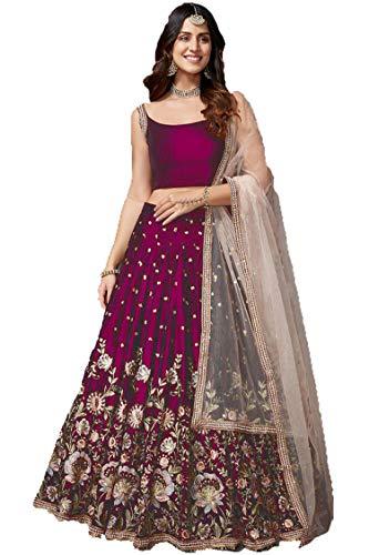 PURVAJA Women's Faux Silk Semi stitched Lehenga Choli (Pink-Pihu_Pink_Free Size)