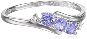 10k White Gold Tanzanite and Diamond 3-Stone Ring (0.018 Cttw, H-I Color, I2-I3 Clarity), Size 6