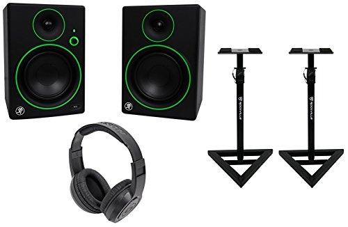 2) Mackie CR5BT 5'' Studio Monitors/Computer Bluetooth Speakers+Stands+Headphones by Mackie