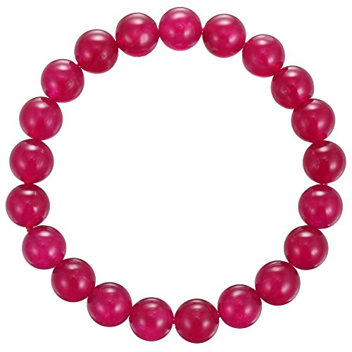 BRCbeads Gemstone Bracelets Fushia Jade Enhance Color Natural Genuine Gemstones Birthstone Handmade Healing Power Crystal Beads Elastic Stretch 10mm 7…