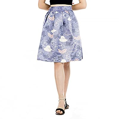 Mocure Vintage High Waisted Floral Printing A-line Style Knee-Length Midi Pleated Skirt Bubble Skirt Skater Skirt
