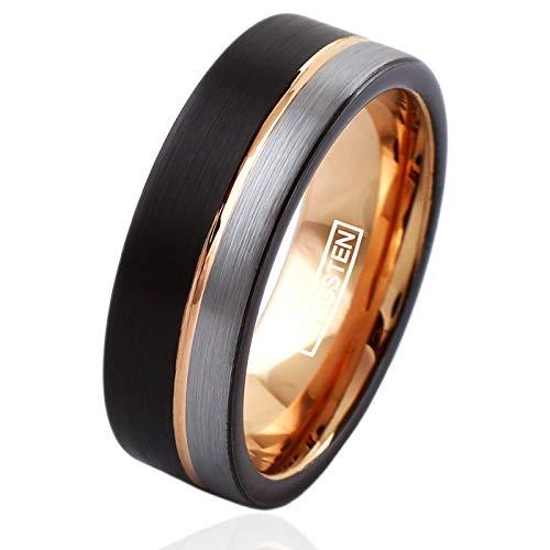(King's Cross Beautiful 8mm Flat Band Black Tungsten Wedding Band w/Off-Center Rose Gold Stripe & Silver Edge Stripe. (9))