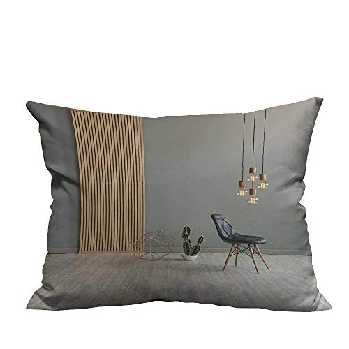 fengruihome Sofa Waist Cushion Cover Gray Win Front Wooden Separator Pend t lamp Texture woo Laminate Floor Comfortable and Breathable 13.5x19 inch(Double-Sided Printing)