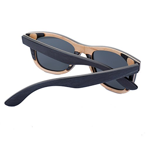 fa698b894841 Women Skateboard Wood Sunglasses Polarized Wayfarer Men Sun Shades with Bamboo  Case (Black