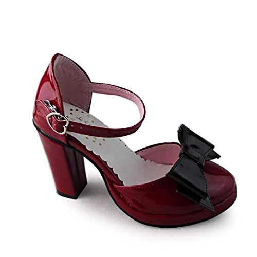 Avacostume Femmes Mode Vintage Plate-forme Chunky Talon Sandales Chaussures Vin Rouge