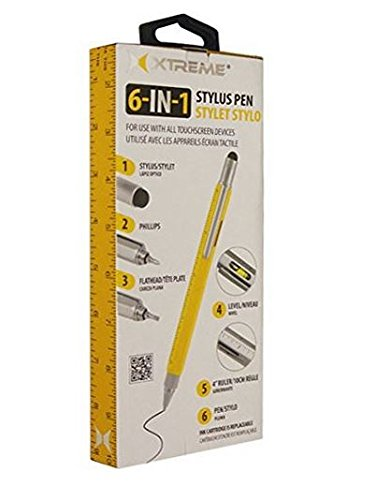 """Price comparison product image Xtreme 6-in-1 Stylus: Touchscreen Stylus, 4"""" Ruler, Level, Ballpoint Pen, Flathead and Phillips Screwdriver"""