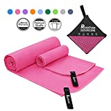 Relefree Microfiber Towel, 2 Sizes Sports, Travel, Camping Towel, XL(60x30'') & XS(24X15''), Quick Dry, Ultra Absorbent, Suitable for Fitness, Camping, Swimming,Hiking (Pink(60X30 & 24X15))