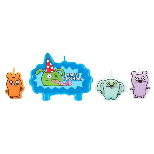 Party Time Ugly Doll Molded Mini Character Birthday Candle Set, Pack of 4, Multi , 1.25