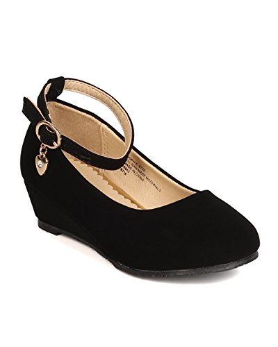 Price comparison product image Girls Nubuck Danging Charm Ankle Strap Wedge Pump FI79 - Black (Size: Little Kid 2)