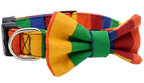 YOY Adjustable Pet Dog Collar with Bow Tie - Rainbow Bowtie Necktie Puppy Grooming Accessories for Doggy, Neck 11