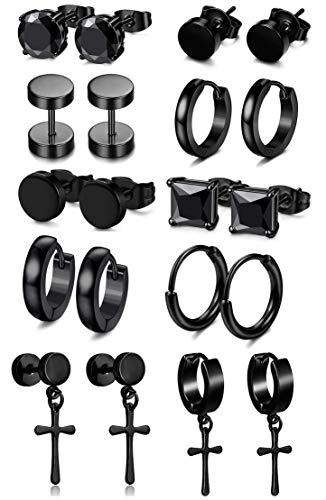 FIBO STEEL 5-10 Pairs Stainless Steel Black Stud Earrings for Men Women Huggie Earring Ear Piercing Set Hoop (b:10 Pairs black earings)