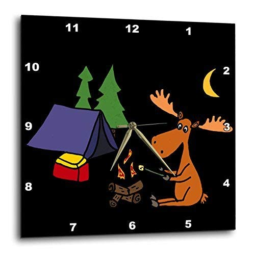 Cool Moose - 3D Rose Cool Funny Moose Camping and Roasting Marshmallows Wall Clock, 10