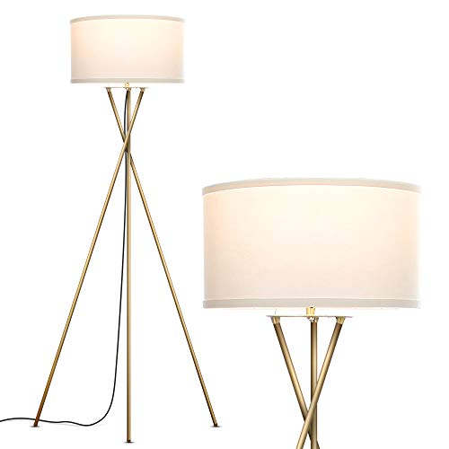 Brightech Jaxon Tripod LED Floor Lamp - Mid Century Modern, Living Room Standing Light - Tall, Contemporary Drum Shade Lamp for Bedroom or Office - Brass/Gold