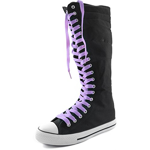 Lace Lavender Canvas DailyShoes Punk Boots Womens Black Lavender Sneaker Boots Tall Calf Flat Casual Mid qp16npO