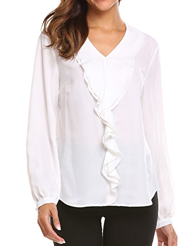 Unibelle Womens Long Sleeve Top with Ruffle Front Blouse White (Long Sleeve Ruffled Blouse)
