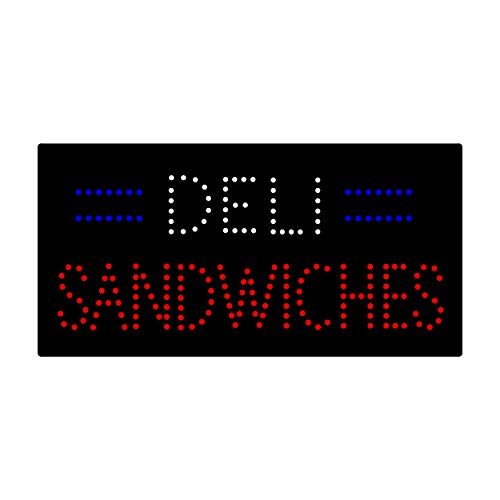 LED Deli Sandwich Open Light Sign Super Bright Electric Advertising Display Board for Pizza Hot Dog Burger Kebab Beef Business Shop Store Window Bedroom Decor 24 x 12 inches