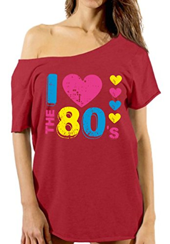 Vizor Women's I Love The 80's Off Shoulder T shirts Tops 80s Party 80s Costume 80s Disco Red - Costume Top Ideas Gun