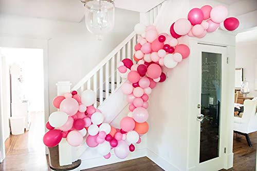 (Balloon Garland Kit for Girl Birthday Baby Shower Bachelorette Party Centerpiece Backdrop Decorations Includes Balloons Balloon Decorating Strip Tape Dot Glue Ribbon 121pcs)