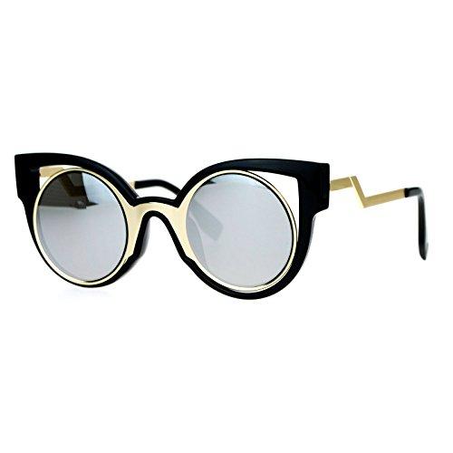SA106 Unique Futuristic Art Deco Robotic mirrored Lens Cat Eye Sunglasses Black - Sunglasses Futuristic