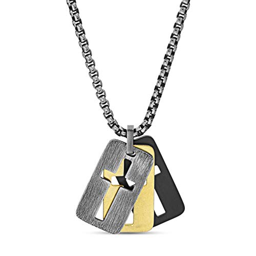 "Steve Madden 26"" Tri-Color Stainless Steel Box Chain Open Cross Dogtag Trio Pendant Necklace for Men"