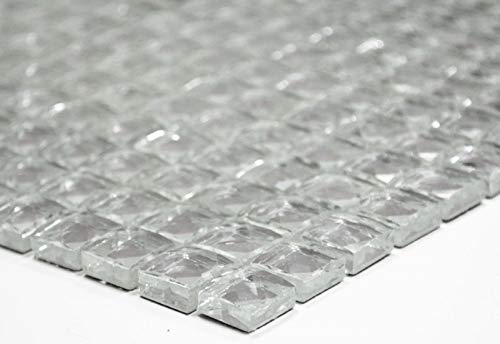 Mosaikfliese Transluzent kristall Glasmosaik Crystal Glitzer silber MOS130-0204
