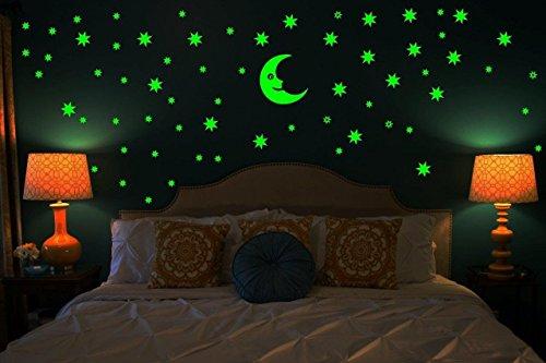 Dreamkraft Galaxy of Stars Radium Glow in The Dark Wall Sticker (Vinyl, 25X19x0.8 cm, Green)