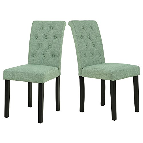 LSSBOUGHT Button-Tufted Upholstered Fabric Dining Chairs with Solid Wood Legs, Set of 2 (Light Green)