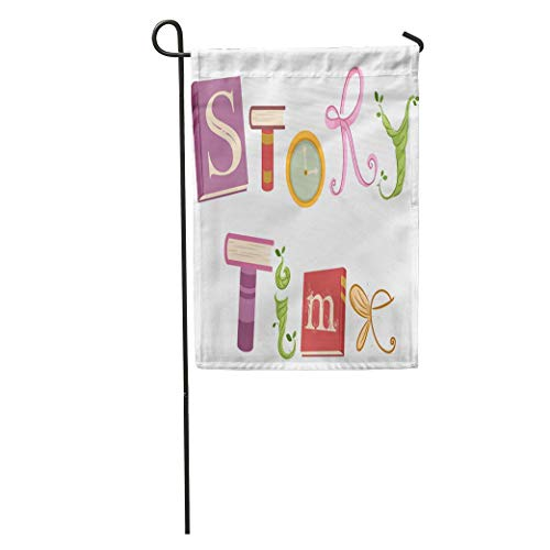 jiebokejiHFGD Garden Flag Whimsical Featuring Vines Ribbons Wings and Storybooks That Spell The Home Yard House Decor Barnner Outdoor Stand 12x18 Inches Flag