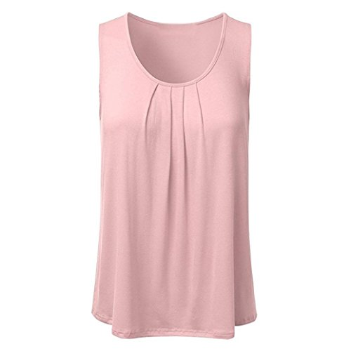 l Solid Sleeveless Pleated Scoop Neck Loose Tank Top Blouse Pink ()