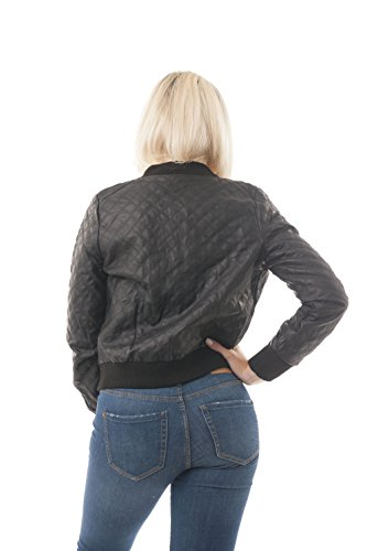 Negro bolsillos sintética Chaqueta acolchada de Khanomak con piel laterales nwg7a7Y8