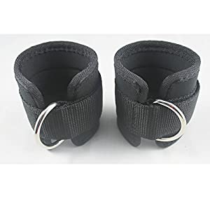 YYST Neoprene Padded Ankle Strap Ankle Cuff Wrist Cuff Fitness Cuff with D Ring and High Strength Velcro for Cable Machines for Butt and Leg Weights Exercises (Pack of 2) Fits Both Men and Women