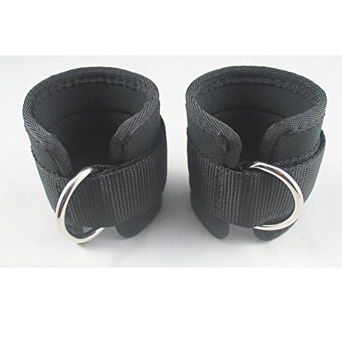 Neoprene Padded Ankle Strap Ankle Cuff Wrist Cuff Fitness Cuff with D Ring and High Strength Velcro for Cable Machines for Butt and Leg Weights Exercises (Pack of 2) Fits Both Men and Women