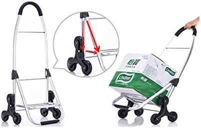Color : Brown Stair Climbing Cart with Large Capacity RFJJAL Shopping Trolley Tri-Wheel with Folding Design