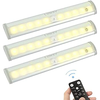 lunsy remote control under cabinet lighting wireless battery operated closet lights dimmable. Black Bedroom Furniture Sets. Home Design Ideas