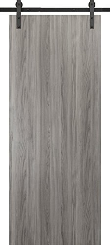 Bell Knob Set Privacy Lock (Planum 0010 Interior Barn Door Ginger Ash No Pre Drilled with sliding system)