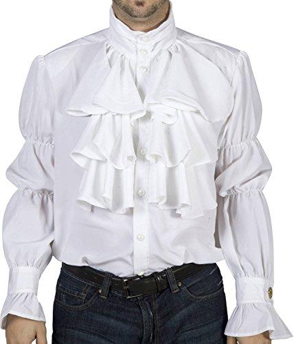 80sTees.com Men's Seinfeld Puffy Ruffled Pirate Costume Shirt White (Seinfeld Puffy Shirt)