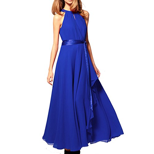 Women Halter Neck Sleeveless Chiffon Maxi Evening Party Dresses (Large, Blue)