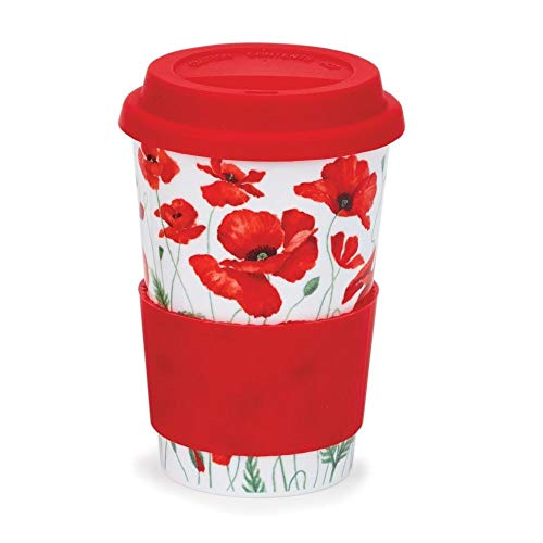 Dunoon Wild Poppies Ceramic Travel Mug Cup with Silicone Lid & Sleeve 440ml