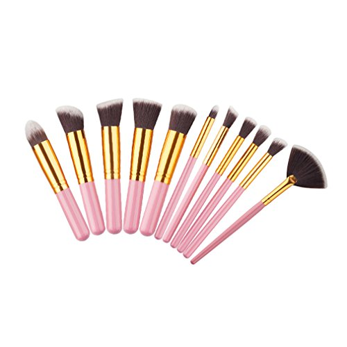 10 Pcs Silver/Golden Makeup Brushes Set Pincel Maquiagem Cos