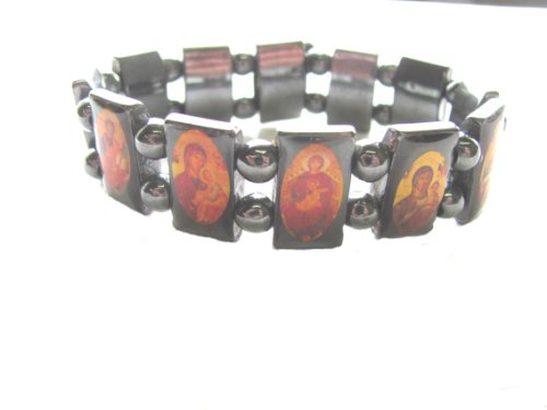 (Hematite Monastery Icon Saints Stretch Bracelet)