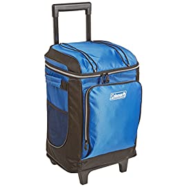 Coleman 42-Can Soft Cooler with Removable Liner & Wheels 9 Holds 42 cans Durable wheels and retractable handle make it easy to transport Includes removable hard plastic liner
