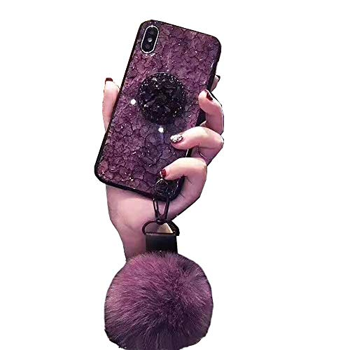 Ball Apple Iphone - for iPhone 7 Plus Case Jewelry, SevenPanda Luxury Diamond Soft Rubber Bumper Bling Diamond Glitter Crystal with Airbag Stand Holder/Wrist Strap/Fur Ball for Girls (Purple, for iPhone 8 Plus 5.5