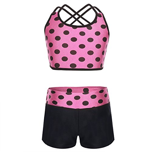 Agoky Girls' Childrens 2-Pieces Gymnastics Dancing Outfits Swimsuit Polka Dot Top Bra and Shorts Clothes Set Hot Pink 7-8
