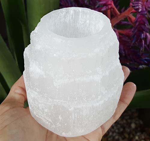 StrongHealer Selenite Crystal Tea Light Candle Holder for Meditation, Mood, Soothing, Calming, Romance, Massage, Reiki, Energy Healing Arts (1, - Tealight Tower Holder