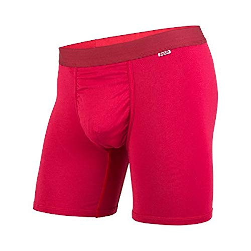 BN3TH Premium Men's Boxer Briefs Underwear Classics, with 3D Support Pouch and Seamless Pucker Panel, Silky Smooth, Soft Breathable Modal Fabric, Moisture Wicking, Small, Crimson