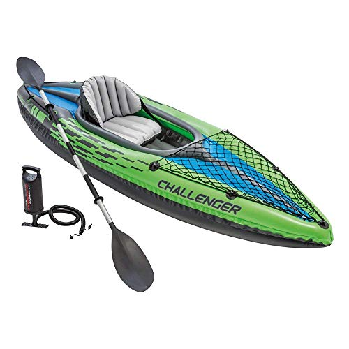 Intex Challenger K1 Kayak, 1-Person Inflatable Kayak Set with Aluminum Oars and High Output Air Pump (Best Pump For Inflatable Kayak)