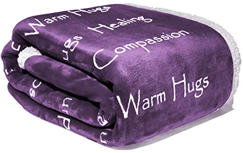 Compassion Blanket - Strength Courage Super Soft Warm Hugs Get Well Gift Blanket. Plush Healing Support Positive Energy Love & Hope with Soft Fluffy Comfort for Cancer Patient (Purple 50