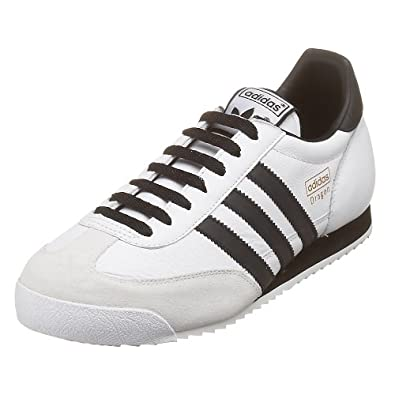 half off d41ff eef65 adidas Originals Men s Dragon Leather Running Shoe, White Blk Met Gold, 9.5