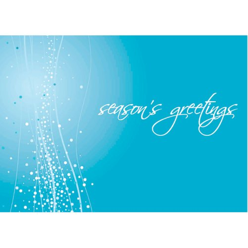 Christmas Holiday Greeting Card H7052. This striking card departs from traditional colors with a dramatic blue. Perfect for both personal and business use. Silver foil-lined envelopes