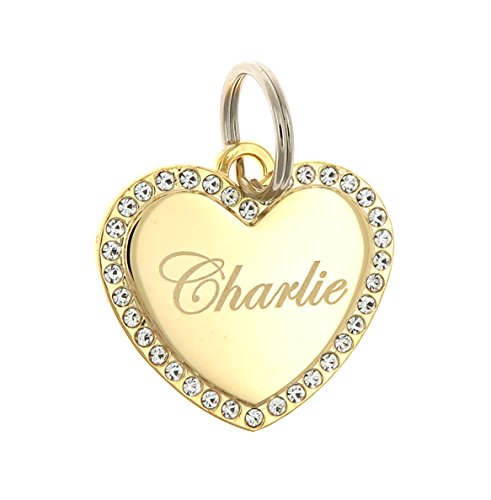 Custom Engraved Personalized Gold Plated Heart Swaroski Zirconia Dog Pet ID Jewelry Bling Tag